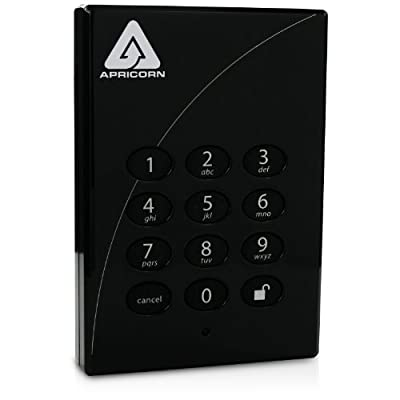Apricorn Direct Padlock 256-bit 1 TB eSata USB 2.0 External Hard Drive A25-PLe256-1000 (Black)