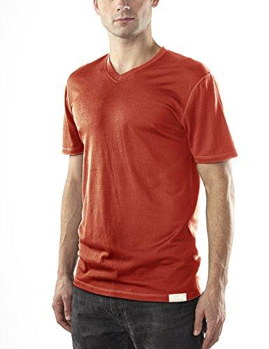 Woolly Clothing Co. Men's Merino Wool Short Sleeve V-Neck (190 GSM) Large Red