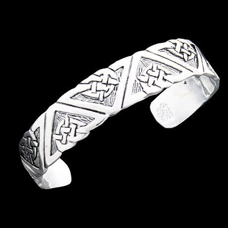 Pewter Celtic Geometric Design Cuff Bracelet - Men or Women - Classic