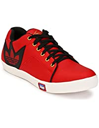 Knoos Men's Synthetic Leather Red Sneakers (CR-7030-RD)
