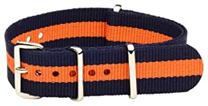 20mm Nato Ss Nylon Striped Navy Blue / Orange Interchangeable Replacement Watch Band Strap