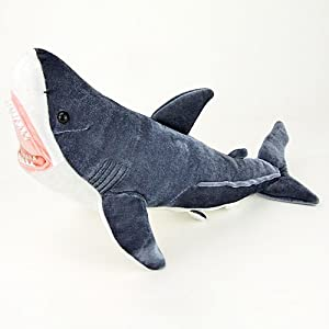 Real stuffed great white shark shark attack m for Life size shark plush