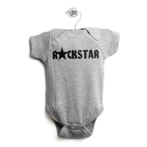 Rockstar One Baby One Piece Baby Body Suit In Grey front-160193