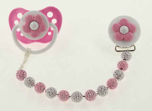 Baby Pink and White Daisy Pastel Pacifier Clip (CPPD) pacifier NOT included - 1