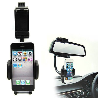 Rear view mirror phone holder mount for hanging cell phone for Mirror holders