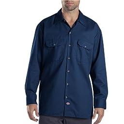Dickies Men\'s Long Sleeve Work Shirt, Dark Navy, Large