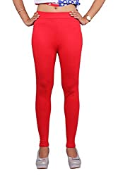 Toko Women's Cotton Leggings (QCTOKOANKLE_Red_Free Size)