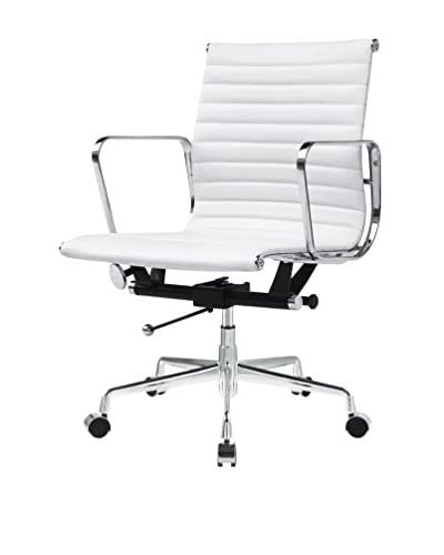 MaxMod Togo Mid Back Leather Office Chair, White