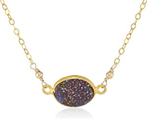 Gold over Silver Druzy Bezel Center and Clasp Chain Necklace, 16