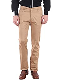 Routeen Men's Labla Biscuit Smart Slim Fit Casual Chinos Trousers Pants