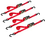 Highland (9210500) 10' Red Ratchet Tie Down with Hooks - 4 pack