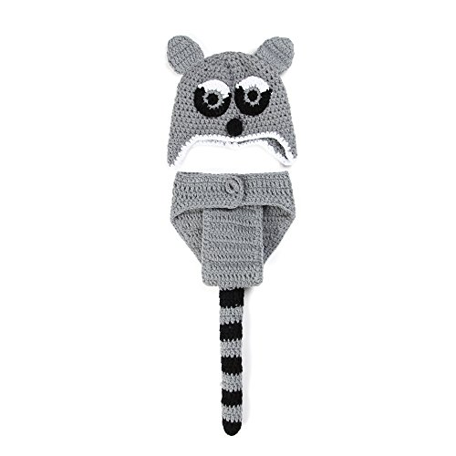 Elee Baby Infant Crochet Knit Photography Props Hat Grey Squirrel Costume Outfit