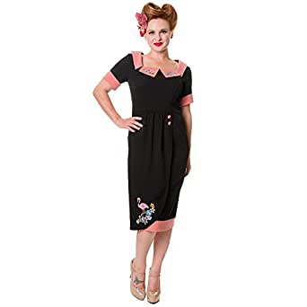 Banned Flamingo Dress Black Pink X Large Amazon Co Uk