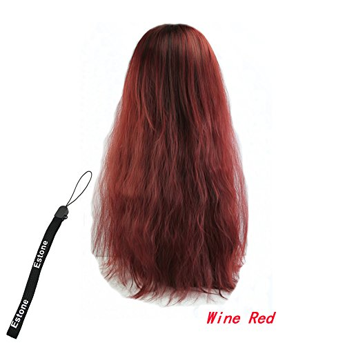 Estone Classic Fashion Womens Lady Long Curly Wavy Hair Full Wigs Cosplay Party 5Colors (Wine Red) front-395873