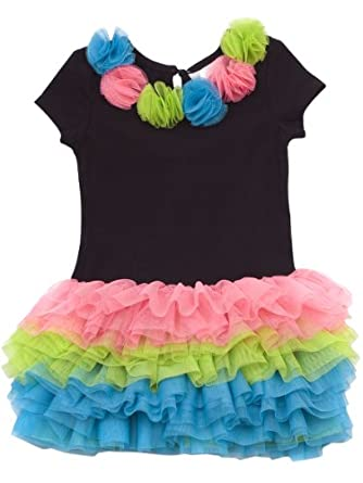 Rare Editions Little Girls' Neon Tutu Dress, Black/Pink/Blue/Green, 4T