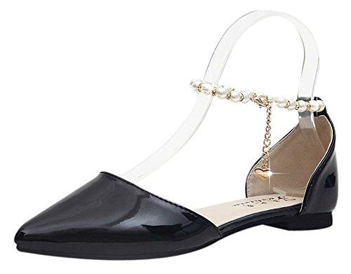 TTKP Women's designs unique handmade beaded pearl pointed toe slip low heel leather sandals