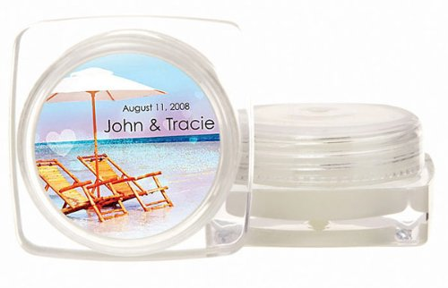 Baby Keepsake: Beach Chairs Design Personalized Large Lip Balm Pot with SPF15 Protect (Set of 24)