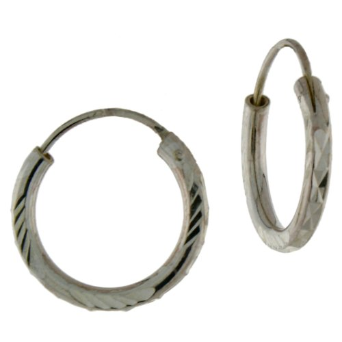 Sterling Silver diamond cut endless hoop earring.