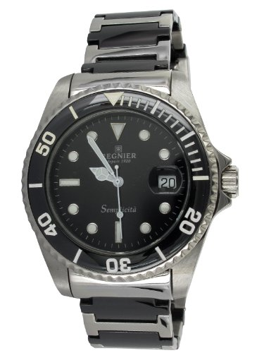 Régnier Semplicita R1314 Men's Stainless Steel And Black Ceramic Strap Watch 2030132