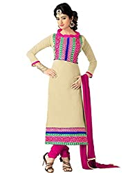 FadAttire Unstitched Chanderi Cotton Suit-Beige-FAGR01