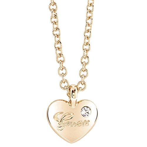 Guess Damen-Kette mit Anhänger Herz Messing Glas weiß 45.5 cm - UBN21527 thumbnail