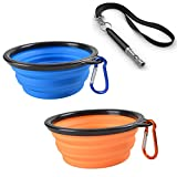 Pet Travel Collapsible Dog Bowl - L-Tiger Pet Food and Water Feeding Bowls For Beach Camping & Hiking Portable Foldable Cup Dish (Set Includes 2 Bowls & 1 Adjustable Ultrasonic Dog Whistle 1 Lanyard)