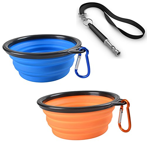Pet Travel Collapsible Dog Bowl - L-Tiger Pet Food and Water Feeding Bowls For Beach Camping & Hiking Portable Foldable Cup Dish (Set Includes 2 Bowls & 1 Adjustable Ultrasonic Dog Whistle 1 Lanyard) (Hotels With A Water Park compare prices)