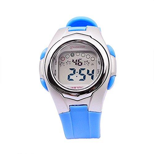 Mingrui Boys Digital Multifunction Military Sport Quartz Wrist Watch Led Stopwatches Light Blue