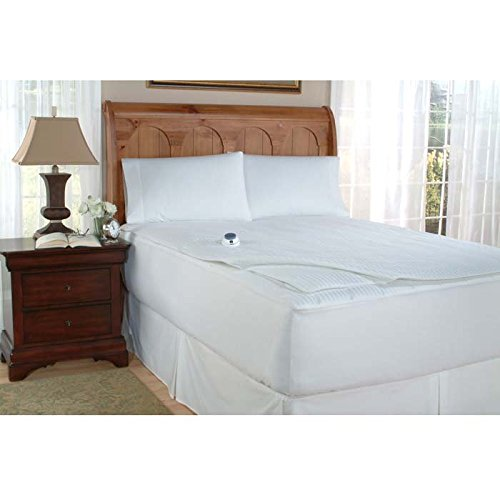 Serta 233-Thread Count Removable Top Low-Voltage Electric Heated Queen Mattress Pad, White
