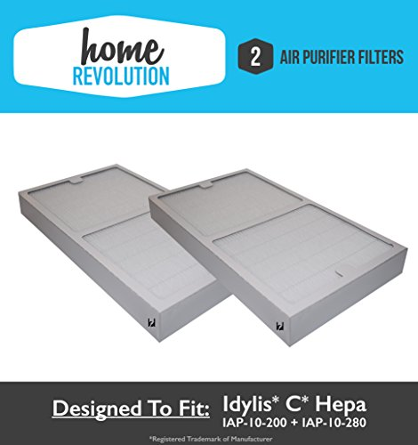 Idylis C HEPA Air Purifier Filter replacement; Fits Idylis Air Purifiers IAP-10-200, IAP-10-280; Home Revolution Brand Replacement (2) (Air Purifier Filter Idylis compare prices)