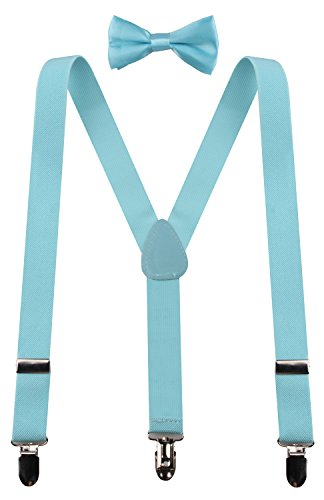 PZLE girls light blue suspenders light blue baby bow tie 30 Inches (8yrs up - up to 5 feet tall) Light Blue (Light Blue Coral compare prices)