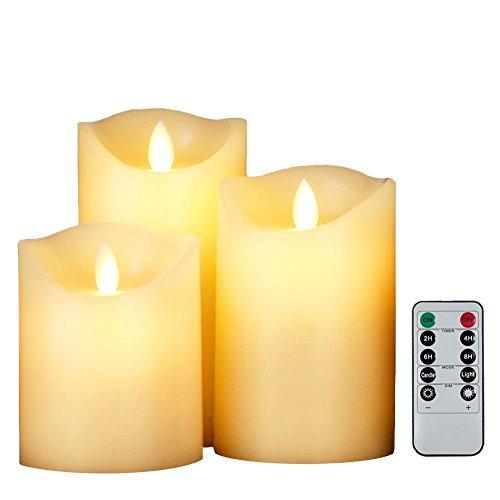 smtyle ゆらゆら LEDキャンドル ライト 癒し 雰囲気 3点セット 専用リモコン付き