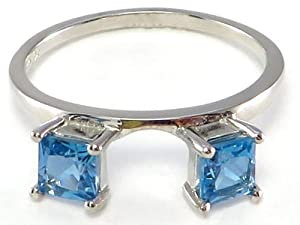 Princess Blue Topaz Ring Wrap Guard Enhancer 10k white gold