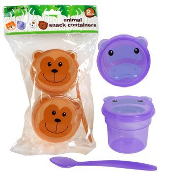 Animal Snack Containers ~ 2 Cups with Lids and a Spoon (Purple)