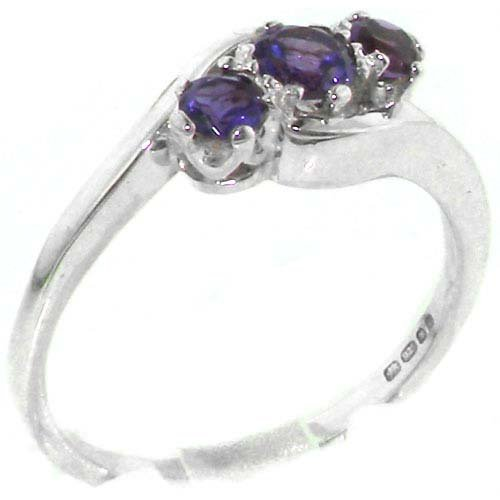 Luxury Solid English Sterling Silver Natural Amethyst Trilogy Ring - Size 11.75 - Finger Sizes 4 to 12 Available - Suitable as an Anniversary ring, Engagement ring, Eternity ring, or Promise ring