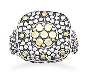 Sterling Silver Sterling Silver and 14 Karat Gold Plated Oxidized Dot Design Ring / Size 6