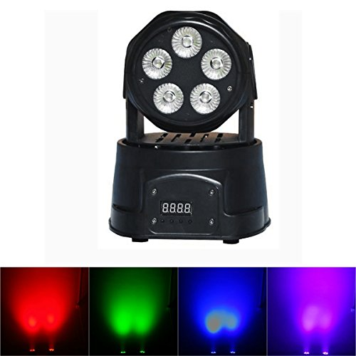 Yiscortm Stage Lighting Led Moving Head Beam Light Rgbwauv (6-In-1) 5 X 18W 5Leds Dmx512 14 Channels For Xmas Christmas Birthday Home Garden Party Club Disco Effect