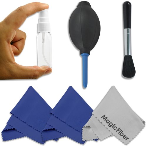 Professional Cleaning Set For Dslr Cameras (Canon, Nikon, Pentax, Sony) - Includes: High Quality Lens Brush + Air Blower Cleaner + Handy Empty Spray Bottle + 3 Premium Magicfiber Microfiber Cleaning Cloths