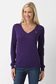 Long Sleeve Extra Fine Cotton V-neck Sweater