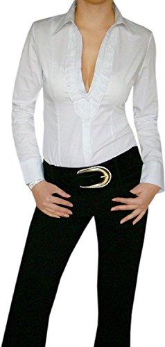 Sexy V-Schnitt Bodybluse,Bodybluse mit Rüschen Weiß Gr.L