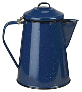 Stansport Enamel 8 Cup Percolator with Basket, Royal Blue