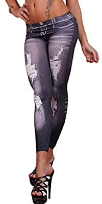 Aivtalk Women's Denim Printed Faux Jeans Seamless Full Length Spandex Leggings