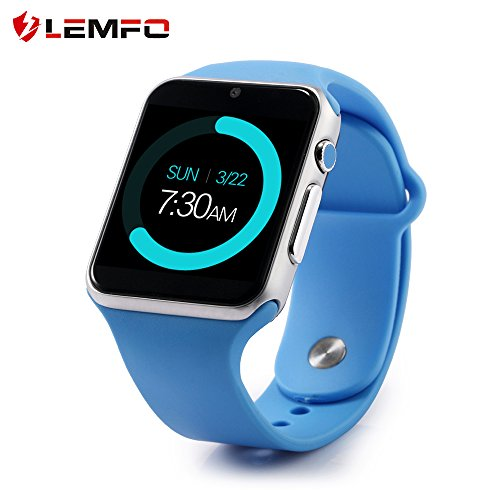 LEMFO IW08 Smart Watch Cell Phone Fitness Tracker Bluetooth WristWatch with Camera for Android Smartphones (Blue)