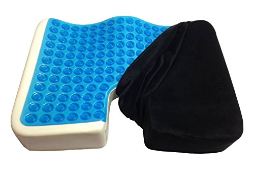 Kieba Coccyx Seat Cushion, Cool Gel Memory Foam Large Orthopedic Tailbone Pillow for Sciatica, Back, and Tailbone Pain (Black) (Seat Cushions For Back Pain compare prices)