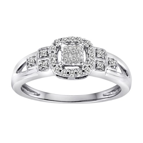Sterling Silver Princess Cut Center and Round Sides Diamond Ring (0.15 cttw, H-I Color, I2-I3 Clarity), Size 8