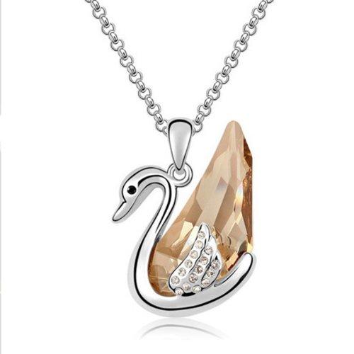 Mqueen Topaz Swan Pendant Necklace front-323002