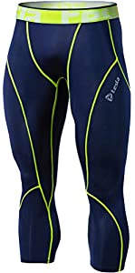 Tesla Men's Compression Baselayer Capri Leggings P15-NVCZ_Medium j_L