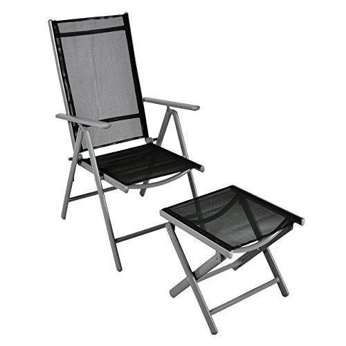 Klappstuhl-Aluminium-Gartenstuhl-Alu-Campingstuhl-mit-Hocker-schwarz-Metall
