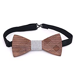 The Ideal Company Wood Wooden Bow Tie Handmade With Adjustable Strap
