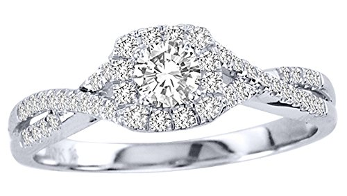 0.58 Carat Halo Cheap Wedding Ring with Round cut Diamond on 18K White gold